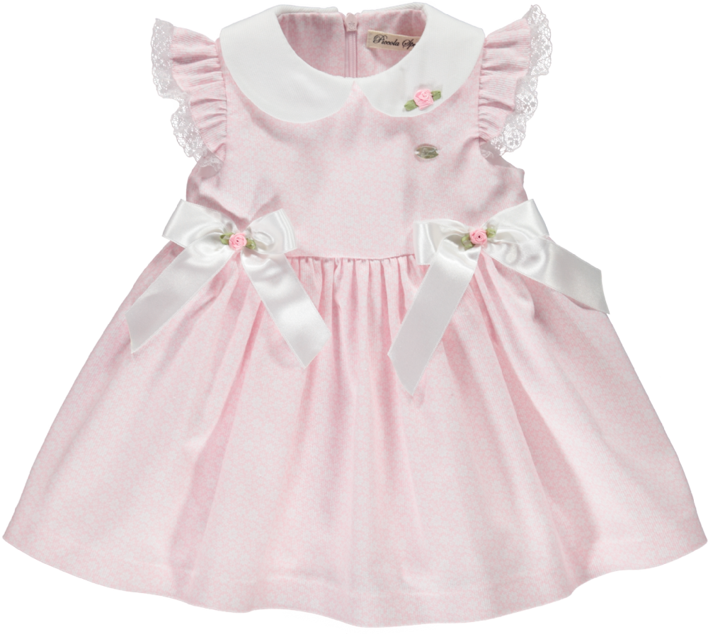 Piccola Speranza Pink Flower Dress With White Bows